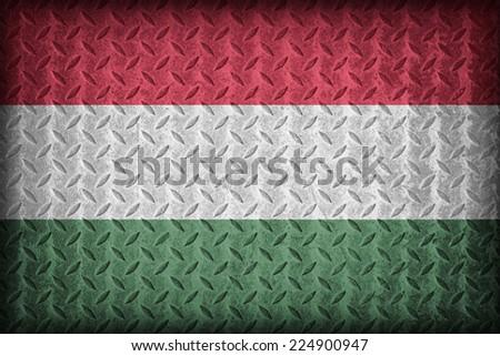 Hungary flag pattern on the diamond metal plate texture ,vintage style - stock photo