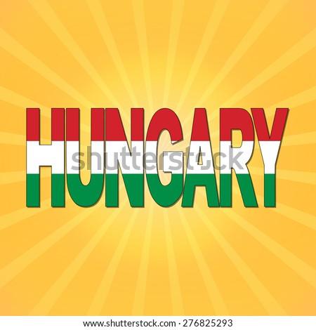 Hungary flag text with sunburst illustration - stock photo