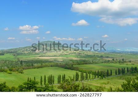 Hungary landscape: view on Badacsony hill - stock photo