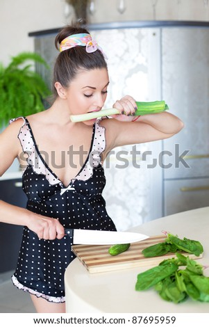 Hungry cook - stock photo