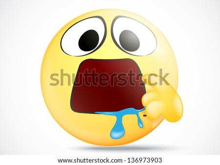 Hungry emoticon with indicate mouth - stock photo