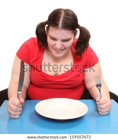 Hungry obese woman with empty plate. Funny picture on diet theme.  - stock photo