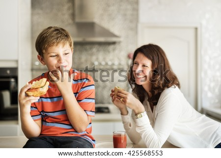 Hungry Starving Youth Child Health Eating Meal Concept - stock photo