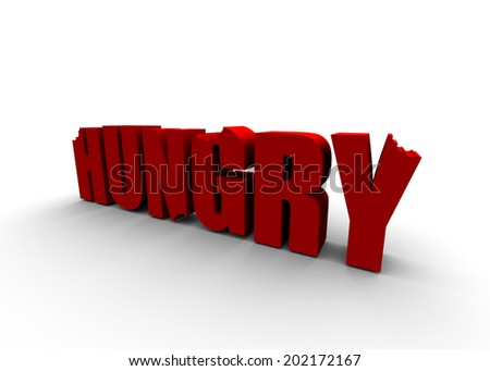 hungry text - stock photo