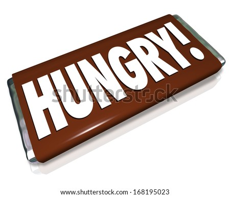 Hungry Word Chocolate Candy Bar Wrapper Hunger - stock photo