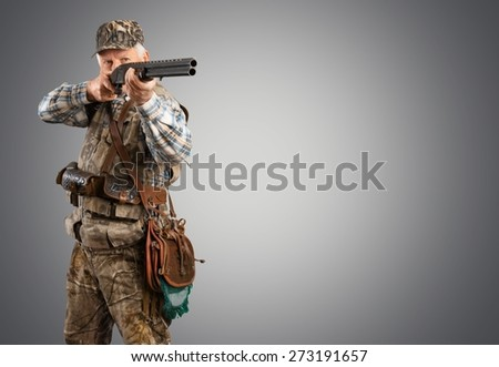 Hunt, hunter, shotgun. - stock photo