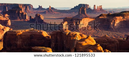 Hunt's Mesa, Monument Valley Panorama - stock photo