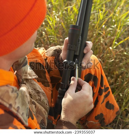 Hunter Loading Rifle - stock photo