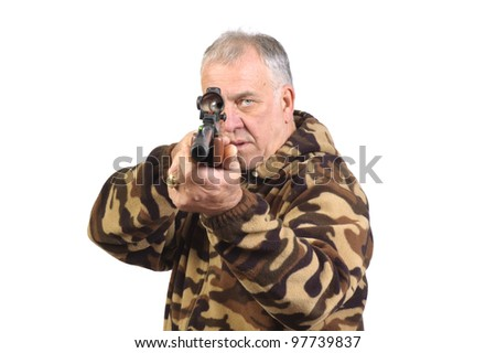 Hunter shooting at target with a air-rifle pointed at camera and isolated over white - stock photo