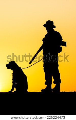 Hunter silhouette - stock photo