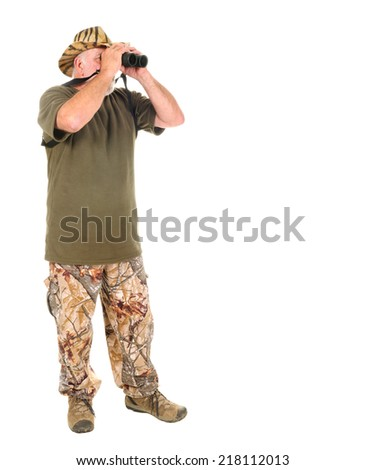 Hunter using binoculars to search for game, isolated on white - stock photo