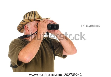 Hunter using binoculars to search for game, isolated on white with copy space in front of the hunter - stock photo