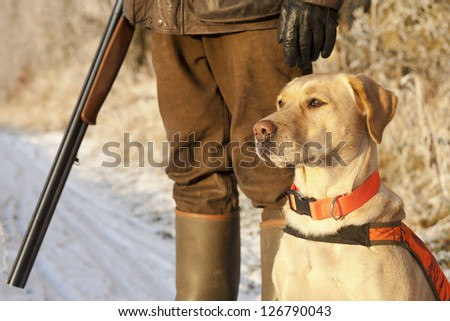 Hunter with dog - stock photo