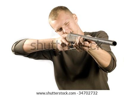 Hunter with gun - stock photo