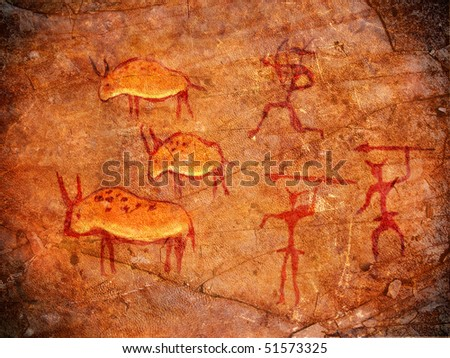 hunters on cave paint digital illustration - stock photo
