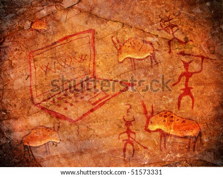 hunters on cave paint digital illustration with notebook - stock photo