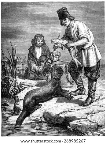 Hunting and fisheries in the North America and the Alaska territory, vintage engraved illustration. Journal des Voyage, Travel Journal, (1880-81). - stock photo