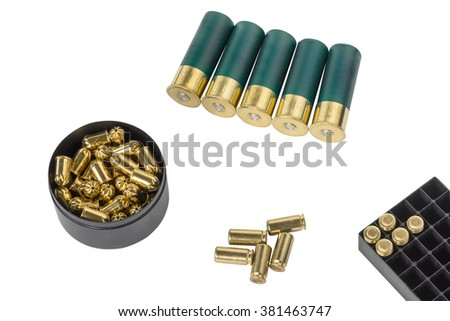 hunting and pistol cartridges isolated on white background - stock photo