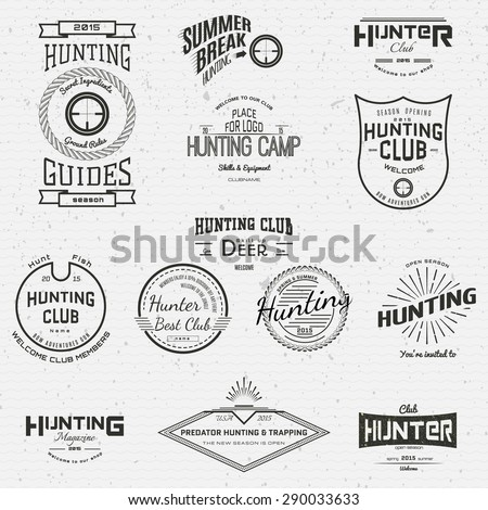 Hunting badges logos and labels for any use, on a white background - stock photo