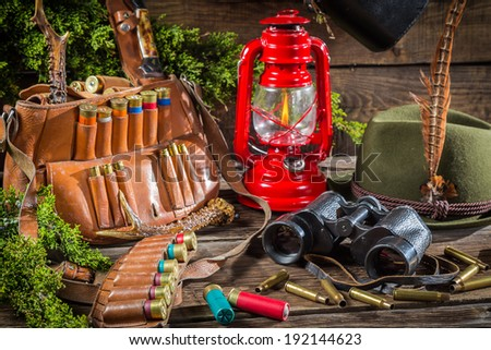 Hunting lodge full of equipment for hunting - stock photo