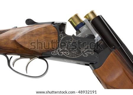 Hunting rifle with ammunition. Isolated on white. - stock photo