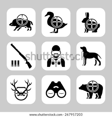 Hunting silhouettes  icon set - stock photo