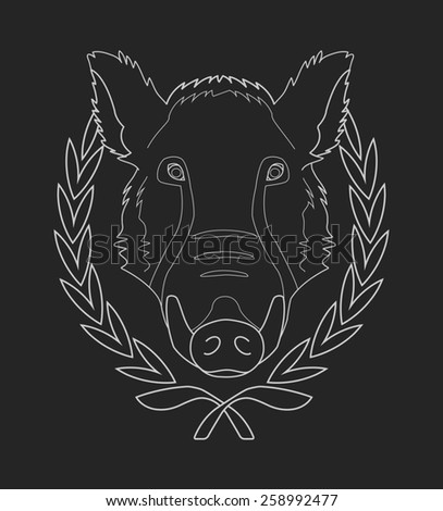 Hunting trophy. Feral wild boar head with big tusks in laurel wreath. Chalk raster illustration isolated on blackboard - stock photo