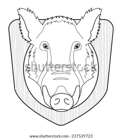 Hunting trophy. Stuffed taxidermy wild boar head with big tusks in wood shield. Line-art illustration isolated on white. Raster - stock photo