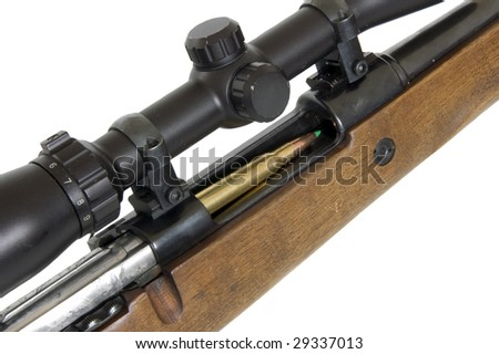 huntingrifle cal. 30,06 isolated on white - stock photo