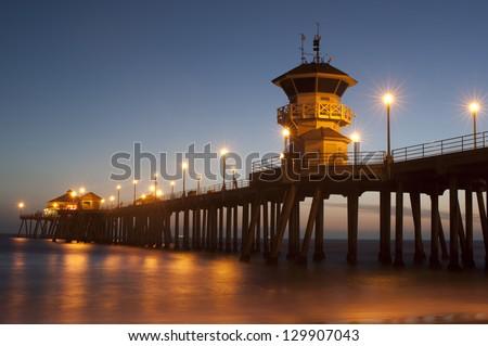 huntington Beach pier dusk - stock photo