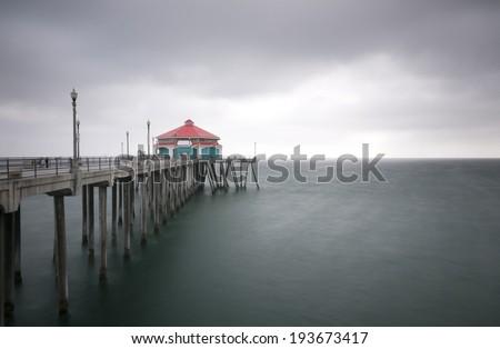 Huntington Beach Pier With Room For Text - stock photo