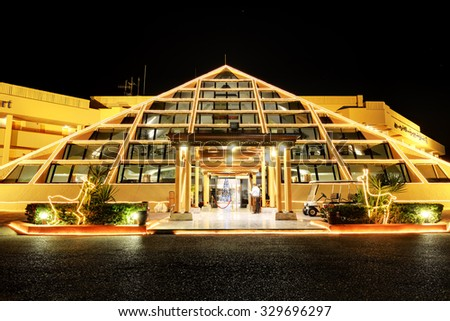 HURGHADA, EGYPT -  DECEMBER 4: The Sonesta Pharaoh Beach Resort in Christmas decoration on December 4, 2012 in Hurghada, Egypt. Up to 12 million tourists have visited Egypt in year 2012. - stock photo