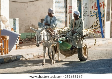Hurghada, Egypt - November 7, 2006: Egyptian men ride his donkey chariot on street - stock photo