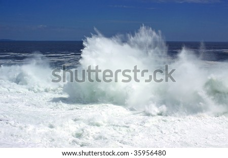 Hurricane Bill wave action on Maine coast - stock photo