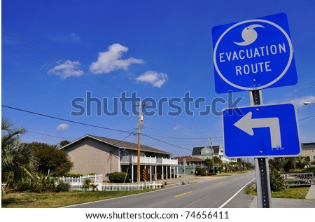 Hurricane Evacuation Route Road Sign - stock photo