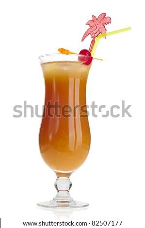 Hurricane glass of campari orange over white background - stock photo