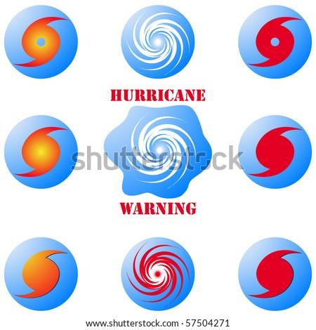 Hurricane icons set - stock photo