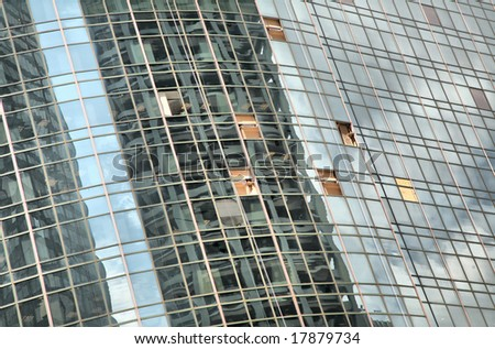 Hurricane Ike Blasted Skyscraper Windows in Houston(Release Information: Editorial Use Only. Use of this image in advertising or for promotional purposes is prohibited.) - stock photo