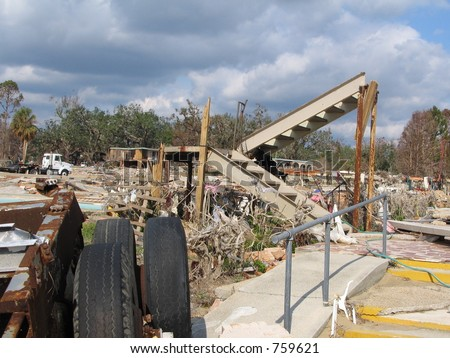 Hurricane Katrina storm damage near Biloxi, Mississippi - stock photo