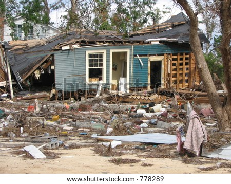 Hurricane Katrina wind storm surge damage near Biloxi, Mississippi. - stock photo