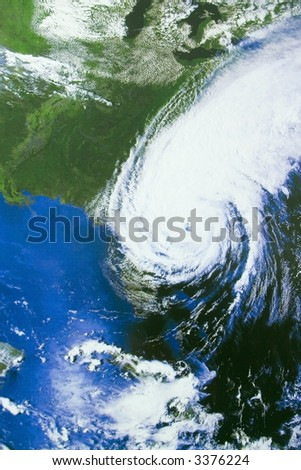Hurricane over Florida - satellite photo - stock photo