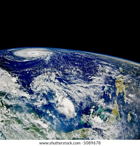 Hurricane over North Atlantic - satellite photo - stock photo
