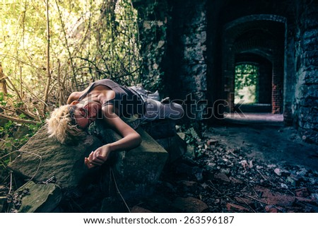 Hurted Sexy fallen Woman - stock photo