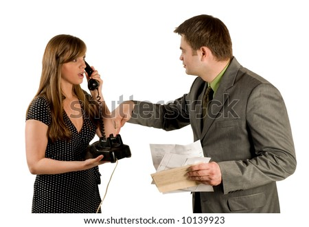 Husband and wife arguing over telephone bills isolated on white - stock photo