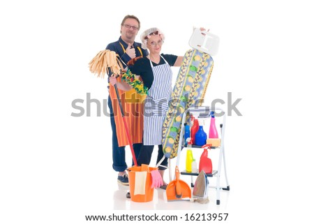 Husband and wife working together in daily household. - stock photo