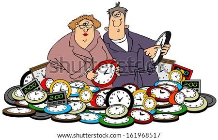 Husband & wife setting clocks - stock photo
