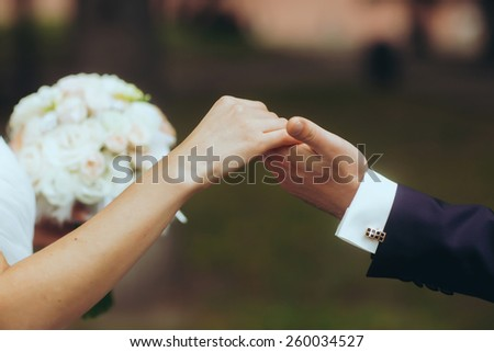 husbands hand lead his wife in summer forest nature outdoor, trust family concept - stock photo