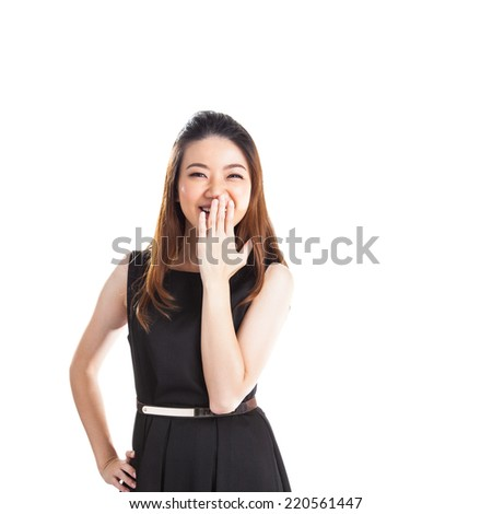 Hush be quiet woman isolated. Beautiful mixed race caucasian / chinese young woman isolated in full length on white background. - stock photo
