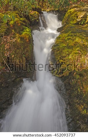 Huskey Branch Falls in the Early Spring in the Smoky Mountains in Tennessee - stock photo