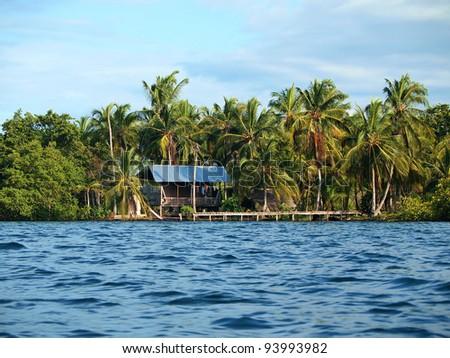 Hut on tropical coast with dock and coconut trees, Caribbean, Panama - stock photo